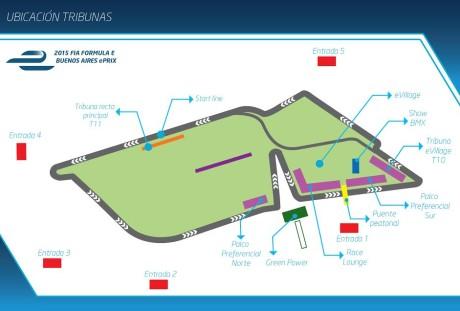 O traçado e a localização das arquibancadas (Ilustração ACA)