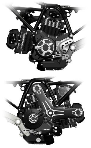 O motor da Ducati, um V2 a 90 graus, tem acerto que privilegia torque em baixas e médias rotações