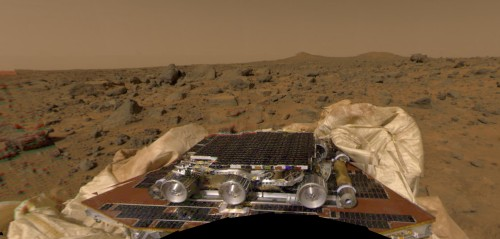 Minha primeira imagem - ao vivo pela internet - visto da sonda Pathfinder (fonte: NASA