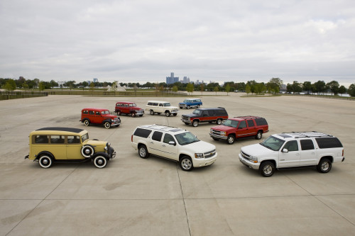 75 years of Chevrolet Suburban (clockwise from left), 1936, 1946