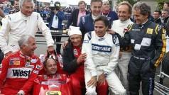 Alguns pilotos daquela época reapareceram em Zeltweg: Prost (D), Martini, Alesi, Piquet, Lauda, Berger, Patrese e Danner (Foto FIA)