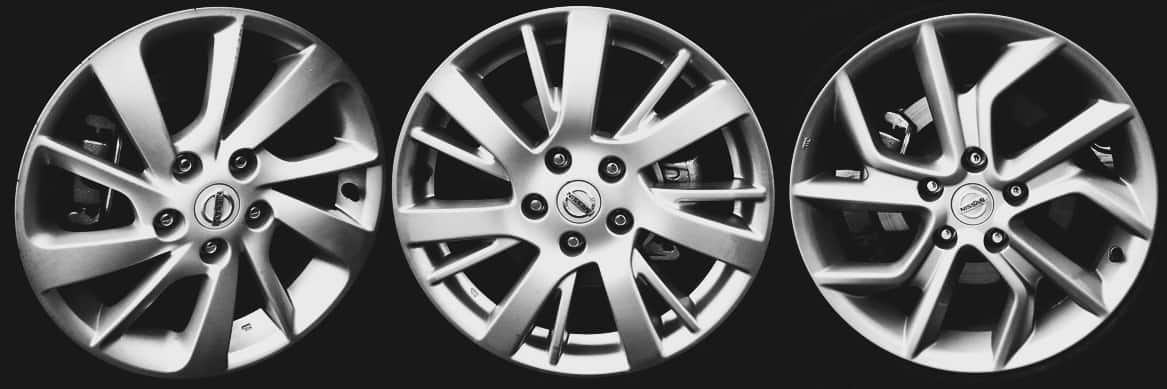 """Todas as versões com rodas de liga. Da esquerda para a direita, S e SV de 16"""", SL de 17"""" e Unique, também de 17""""  NISSAN SENTRA 2016, o BBB Nissan Sentra AUTOentusiastas Rodas"""