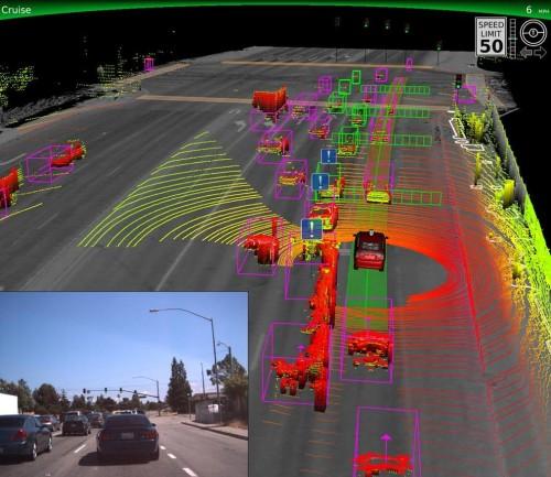 Sensores de carros autônomos usam técnicas semelhantes de fotos de satélite para mapear o espaço em torno do veículo (fonte:CNET.com)