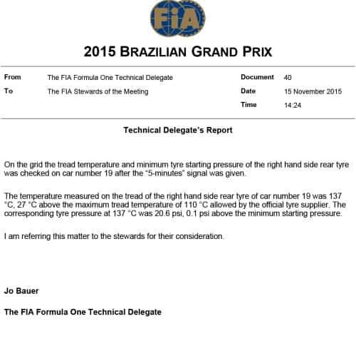 A lei, ora a lei: pneu do carro de Massa estava 0,1 psi fora do regulamento (fia.com)