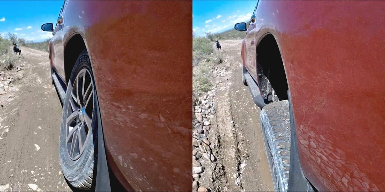 O curso da suspensão traseira de 520 mm contribui para manter o contato dos pneus com o solo mesmo em desníveis impensáveis