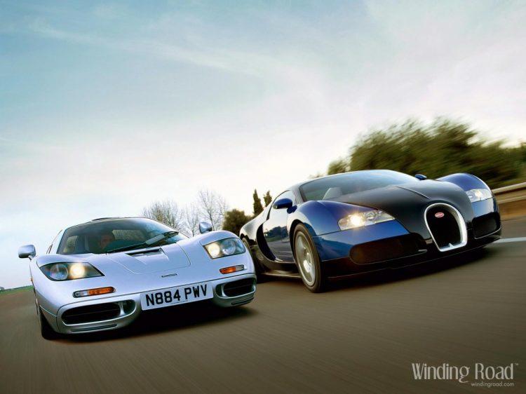 A EVOLUÇÃO DOS CARROS ESPORTE 51833 bugatti veyron vs mclaren f1 desktop wallpaper