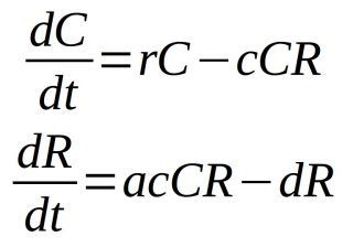 Equações diferenciais do modelo Lokta-Volterra
