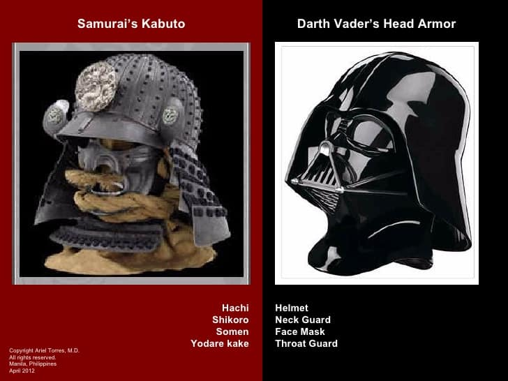 EM BUSCA DA VERDADEIRA FORÇA kabuto samurai e do elmo de Darth Vader
