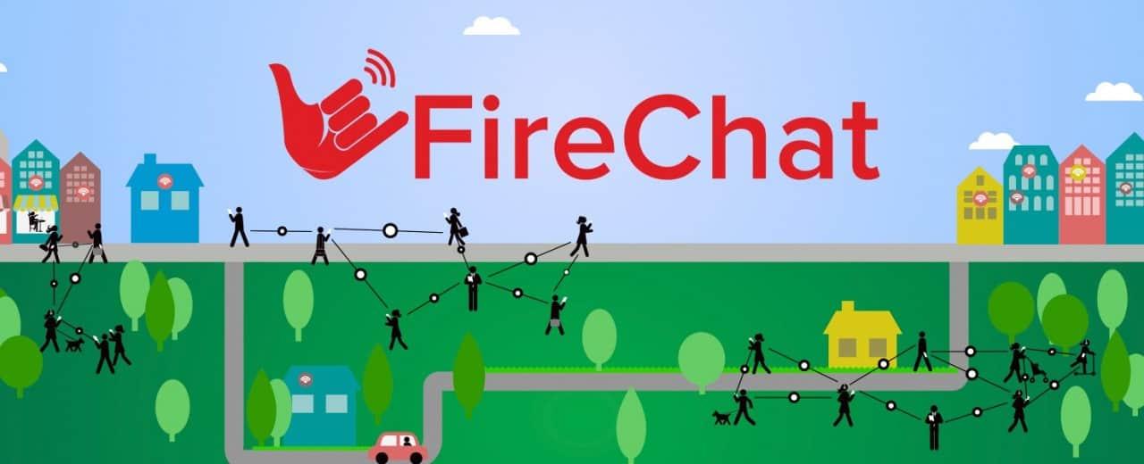 Firechat cria uma rede em malha, transportando toda comunicação de aparelho em aparelho