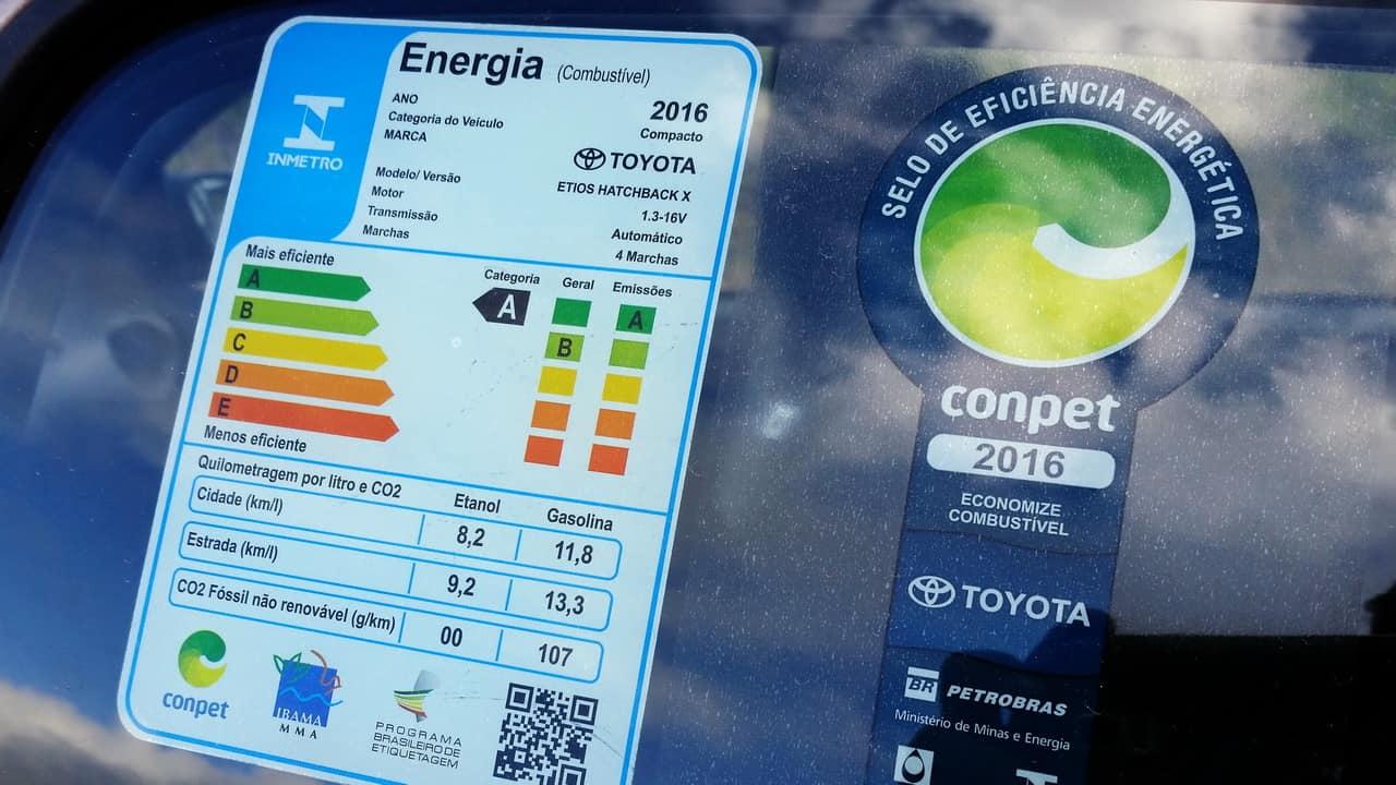 Etiqueta de eficiência, no caso do Toyota Etios   O MÓDULO DA HELLA QUE REDUZ O CONSUMO etiqueta a