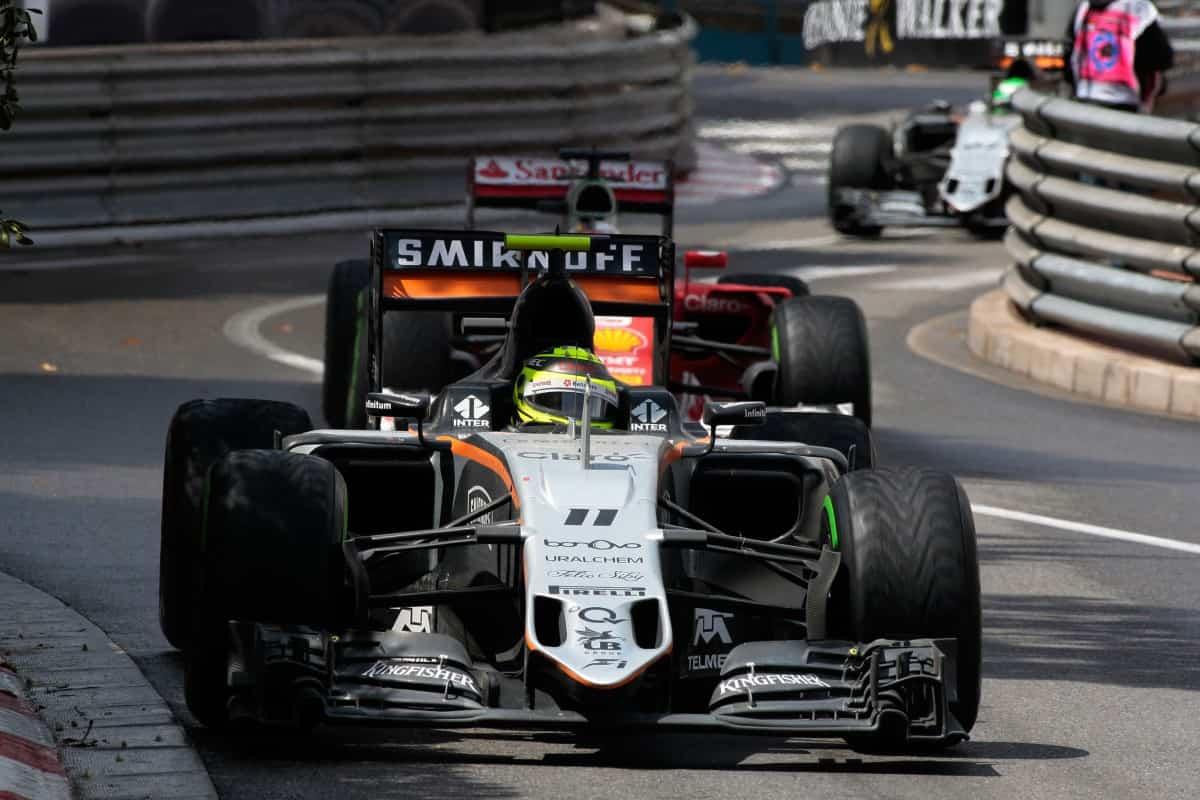 Sergio Perez conseguiu mais um pódio e resistiu aos ataques de Sebastian Vettel (foto Sahara Force India)  OS CONTRASTES DO ATLÂNTICO NORTE 20160531 F1 Monaco Perez Sahara