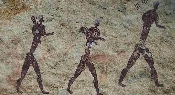Nômades caminhando em pintura primitiva (foto: Wikipedia)