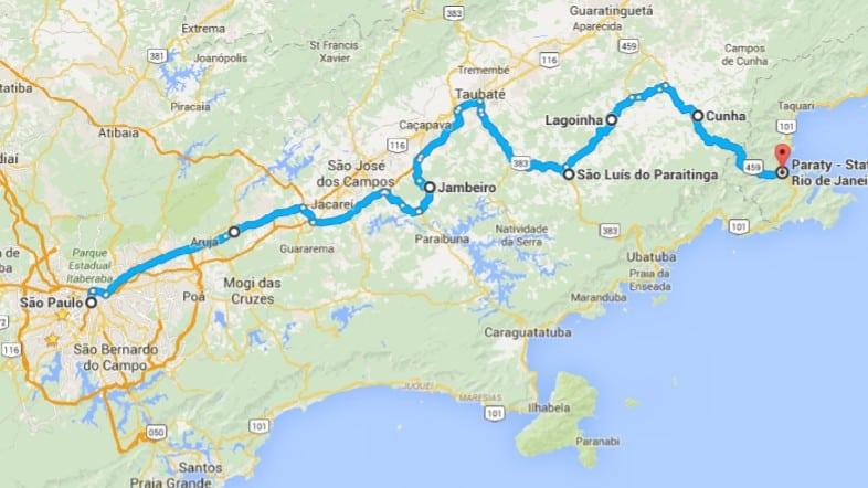 mapa  ROTEIRO AUTOENTUSIASTAS: RENAULT OROCH / PARATY (COM VÍDEO) mapa