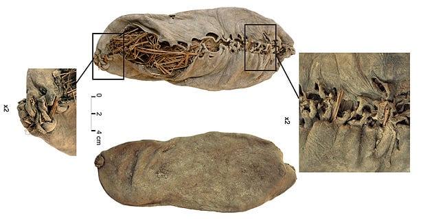 O sapato de couro mais antigo que se tem notícia, de 5.500 anos (foto: wiki)