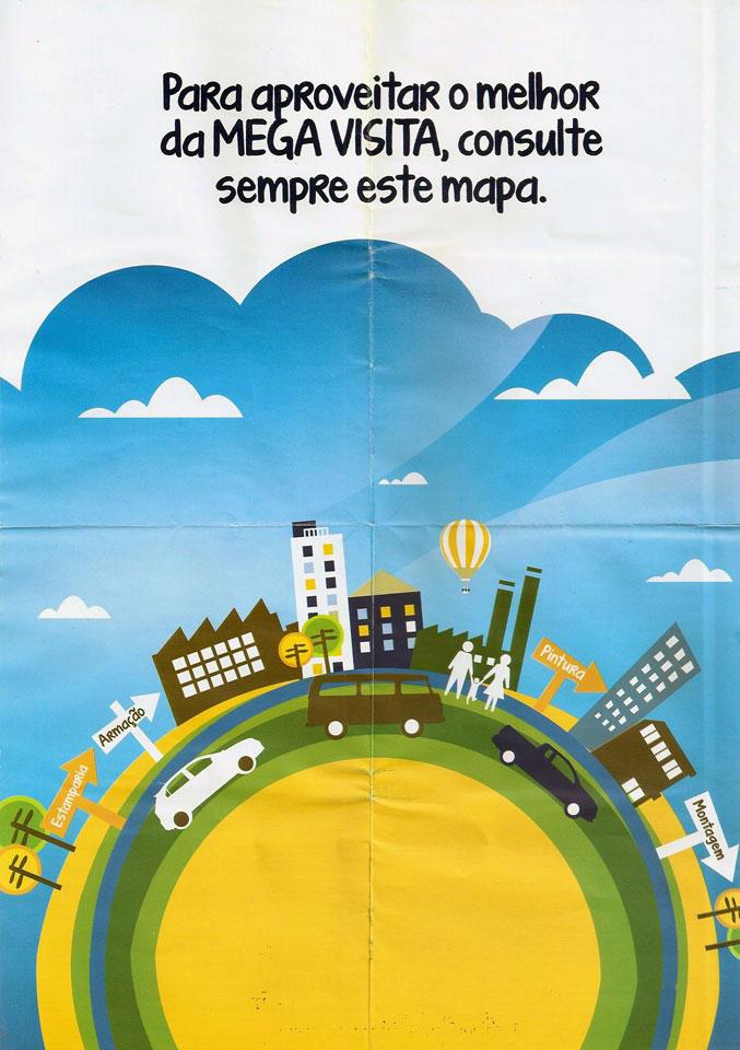 No centro da página uma Kombi marrom marcou a sua presença na capa do mapa da Megavisita