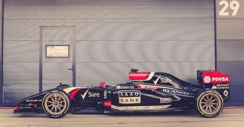 O Lotus Renault com pneus de aro 18 (Foto Team Lotus F1)
