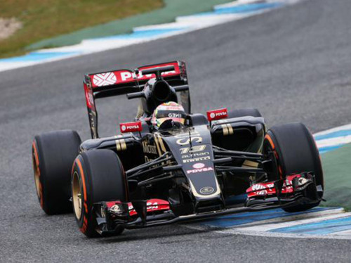 Pastor Maldonado fez o shake down do Lotus E23-Mercedes (Foto Team Lotus F1)