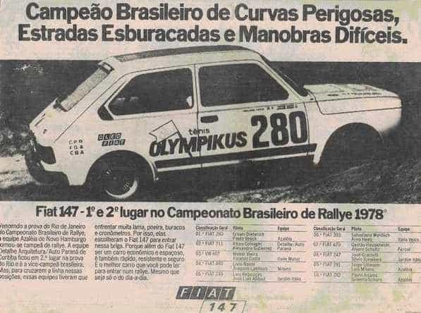 Propaganda do Fiat 147, campeão brasileiro de Rali em 1978