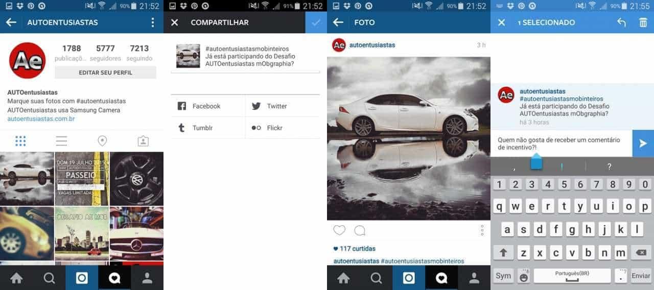 Compartilhar do Instagram para outras redes ajuda no processo e comentar fotos de amigos também é bacana