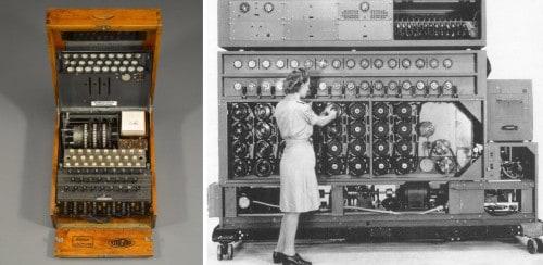 Máquinas ENIGMA e BOMBE. Esta última, de decifração das mensagens ENIGMA, foi projetada por Alan Turing e sua equipe