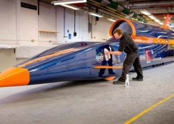 Picture by Jim Holden Picture taken at URT Bognor, Sussex 03/03/13. Members of the the 1k Club followers of the  Bloodhound SSC landspeed record attempt car got to meet the driver's tub at it's first public showing this weekend at URT the manufacturer based in Bognor who have built the monocoque. The two day event saw guests meet and get up close to the carbonfibre tub that will see Andy Green drive at a speed attempt of 1000mph.  Contact Phil Bingham 01622 357070