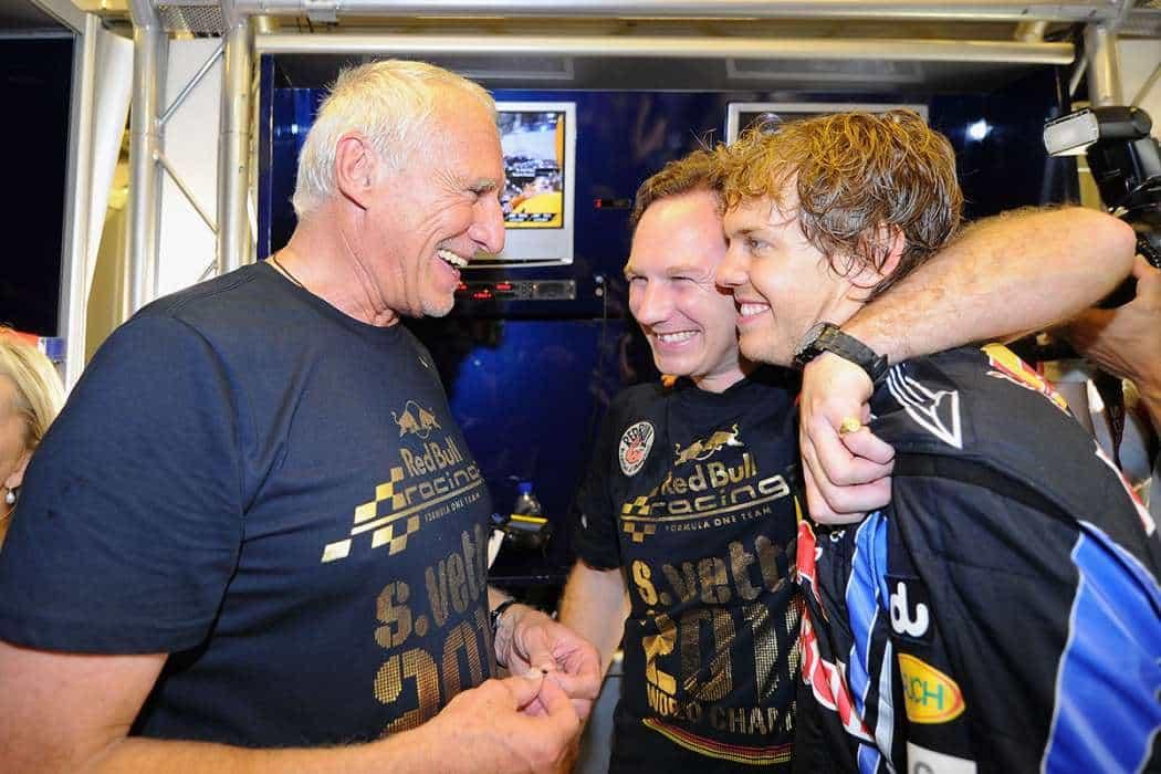 Mateschitz, Horner e Vettel nos tempos em que eram felizes para sempre (Foto Getty Images/Red Bull)