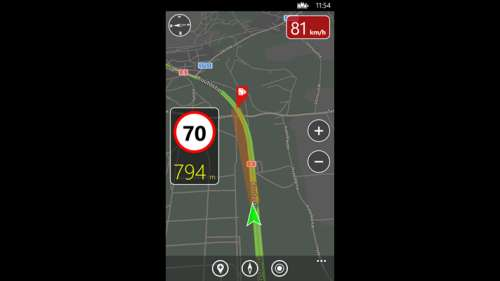 Tela do aplicativo Speedtrap Alert para Windows Phone