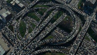 Vista aérea do congestionamento