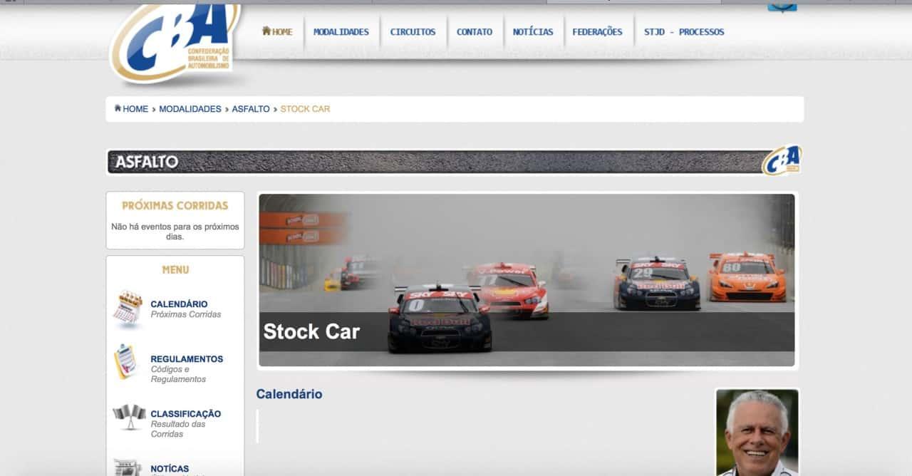 Site da CBA ainda nåo traz calendários das principais categorias nacionais (Foto Site CBA)