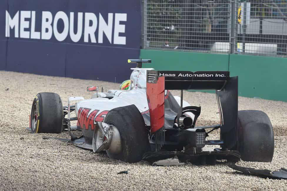 Como ficou o Haas de Estebán Gutiérrez após o acidente (Foto DIvulgação)