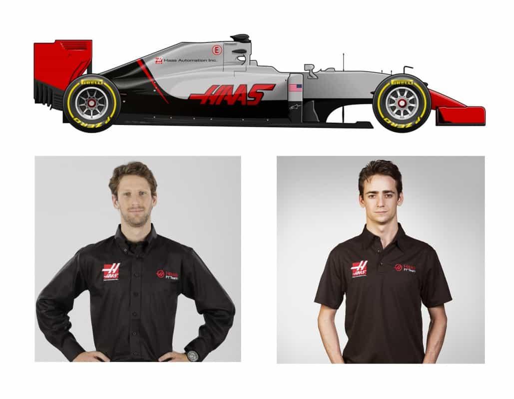 o Haas VF 16-Ferrri de Romain Grosjean e Sérgio Pérez (F-1.Com)