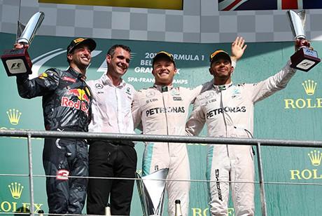 O pódio de Spa (foto Mercedes)