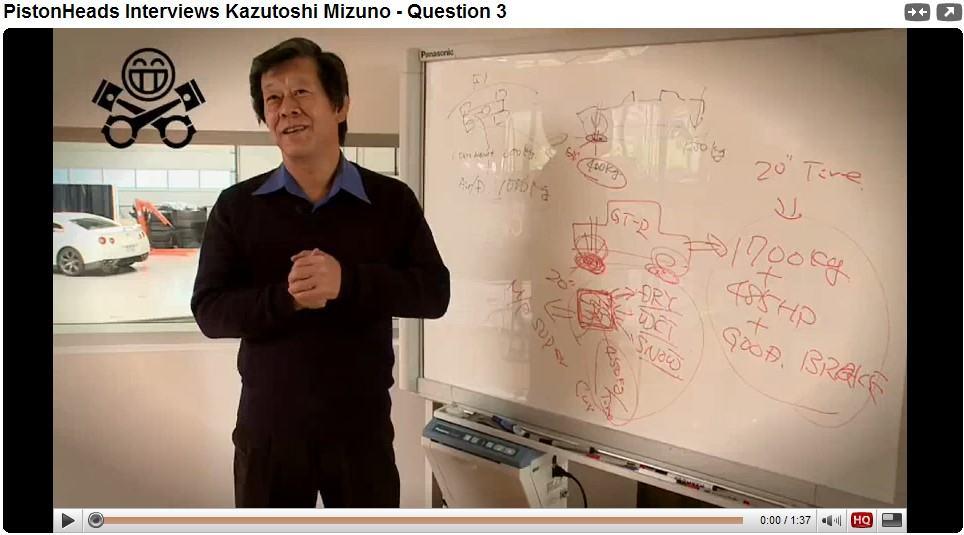 Sr. Kazutoshi Mizuno, o engenheiro-chefe do GT-R explica o desempenho do carro