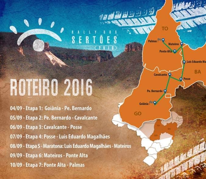 Roteiro do Rally dos Sertões 2016, com 07 etapas entre Goiânia (GO) e Palmas (TO). Foto: divulgação