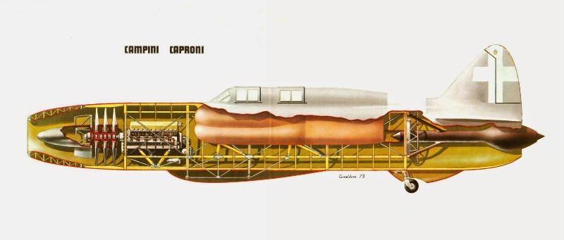 O Caproni-Campini N1 em corte (https://br.pinterest.com/)