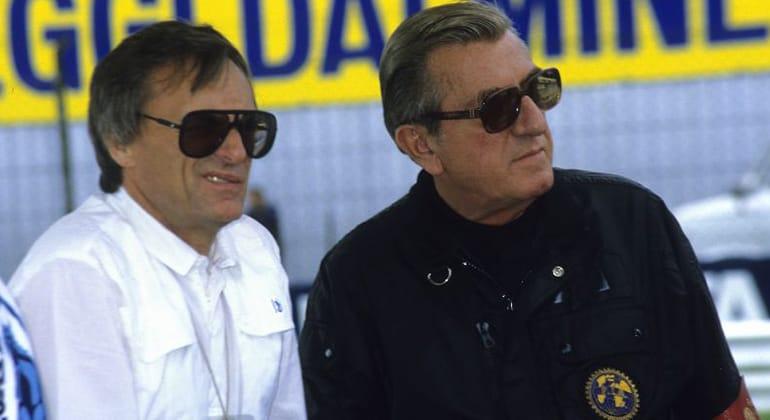 Ecclestone e Balestre, em 1982, após terem feito as pazes ( Pinterest)